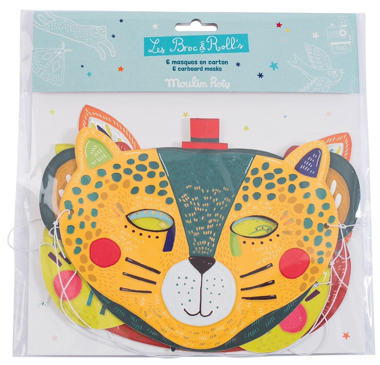 Moulin Roty - Les Broc' & Rolls – Set of 6 card masks for boys