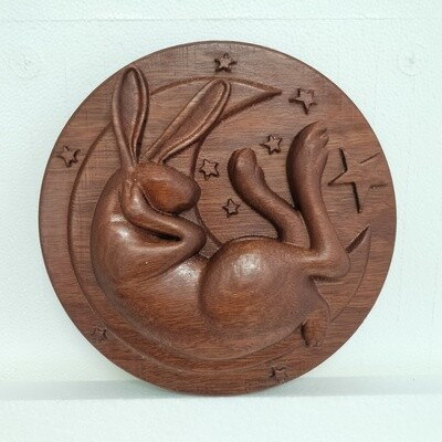 Sleepy Rabbit Wood Carving -  Guess How Much I Love you