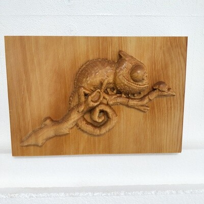 Chameleon with Lady Bug  - Huon Pine carving (facing right).