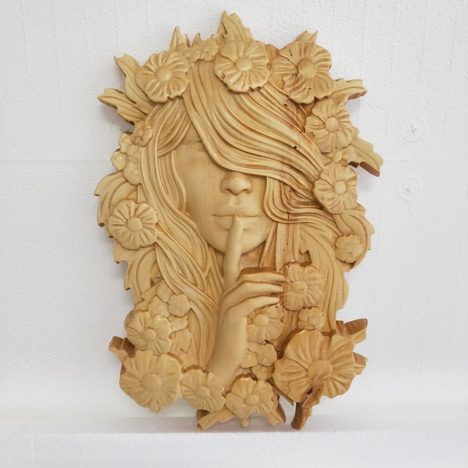 Lady with floral crown - Huon Pine