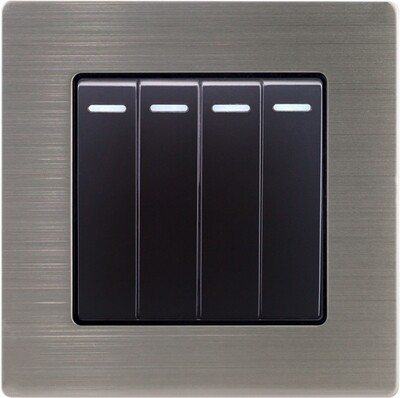 4 Gang 1-way switch with stainless steel frame (220V)