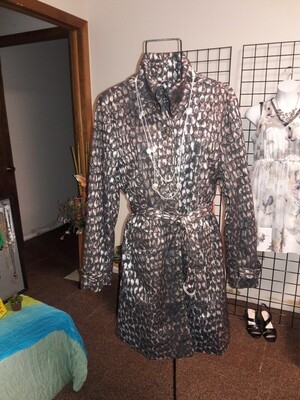 Samuel Dong Animal Print Trench Coat-Size  XL