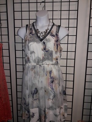 Vera Wang Purple White and Gray Floral Sundress- Size L