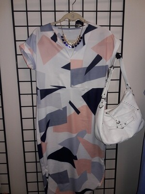 Blue Gray, Peach, and White Geometric Print High Low Dress- Size- S