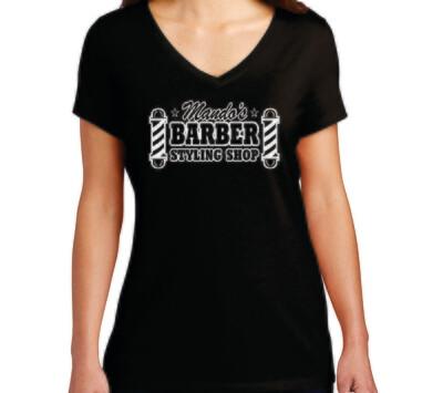 Mando's Barber Shop Soft Ladies V-Neck