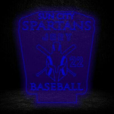 Spartans Baseball Custom NAME light up Acrylic