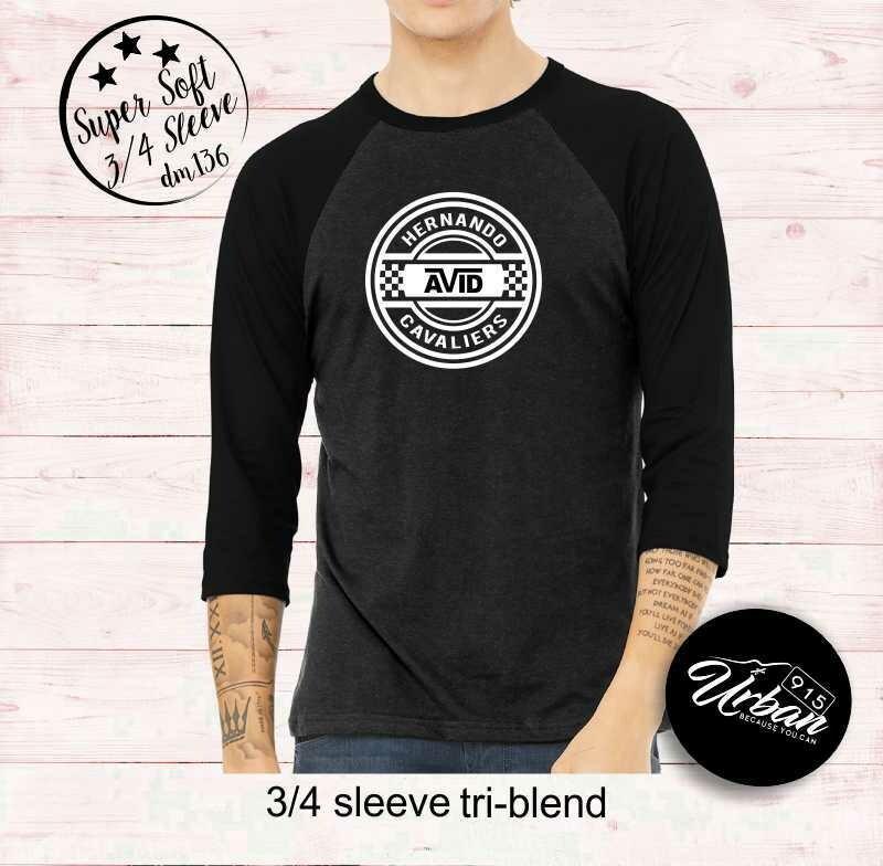 Avid 3/4 Sleeve Super Soft Black Heather Tee