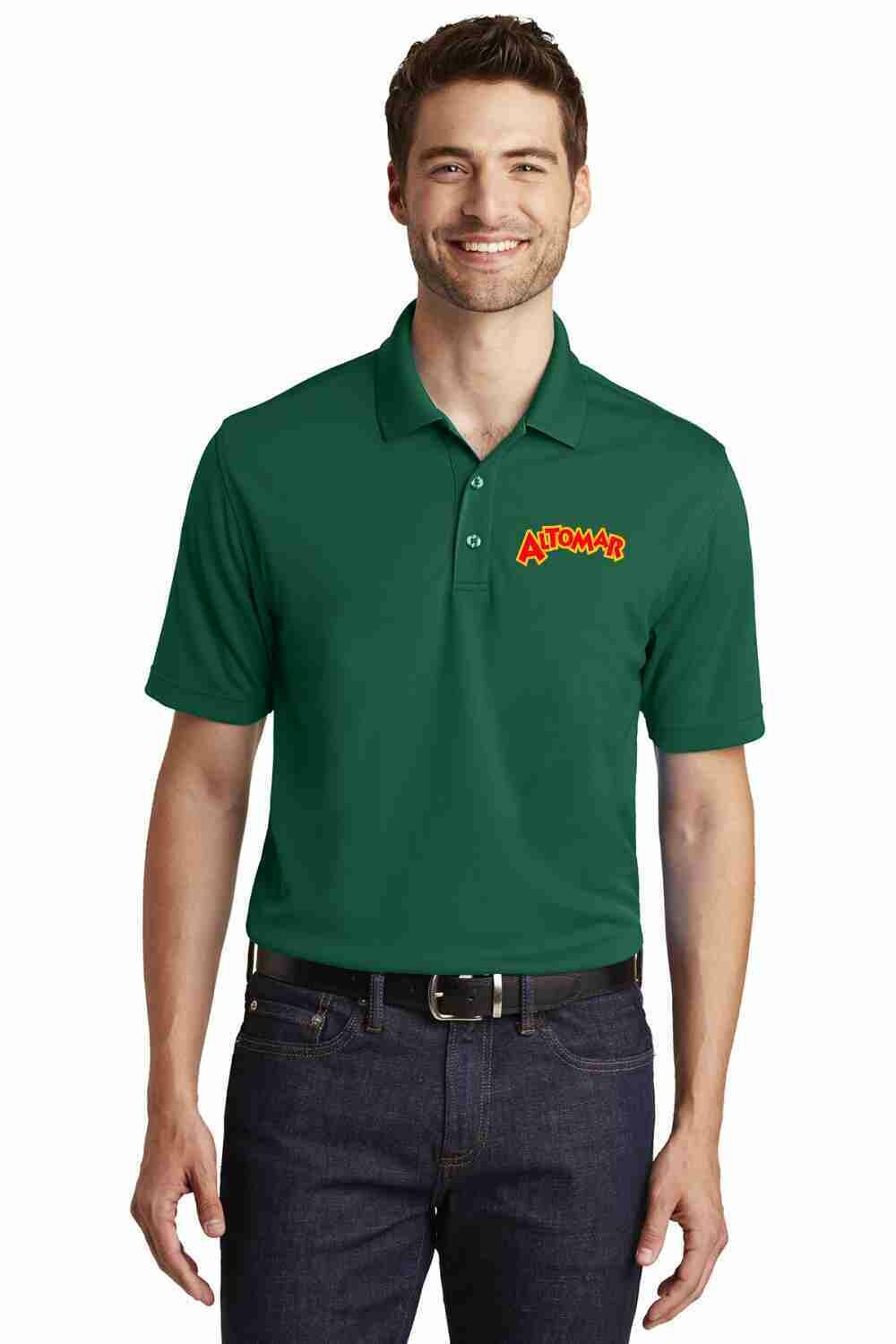 Altomar Deep Forest Green Embroidered Polo