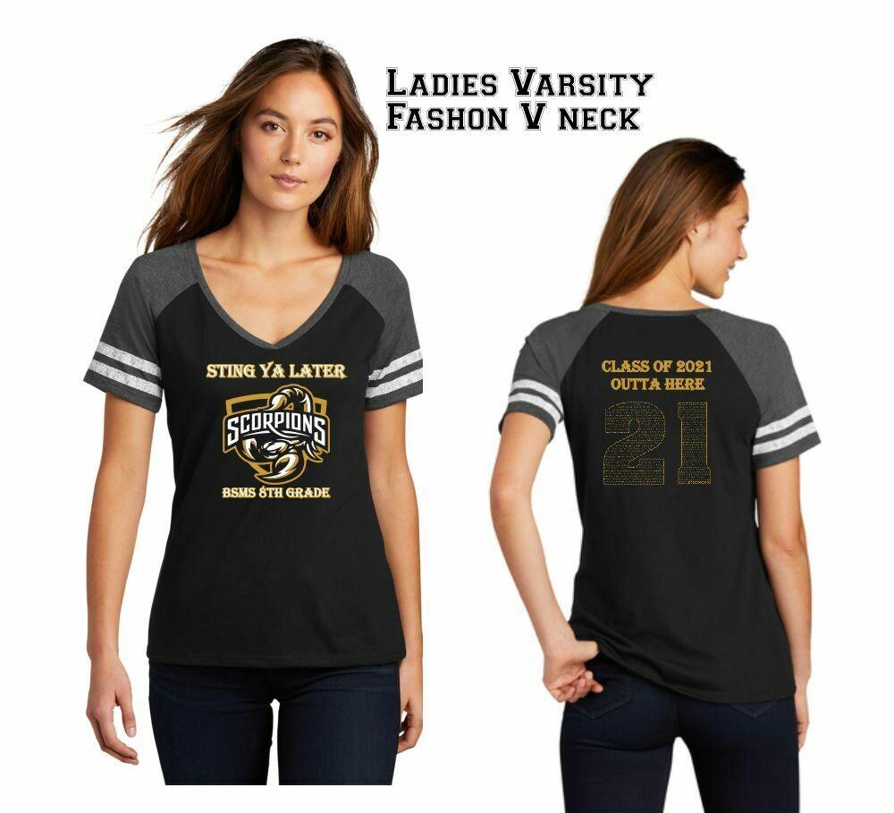 Bill Sybert Super Soft Fashion Varsity V-neck Ladies' Tshirt with 8th Grade names in 21