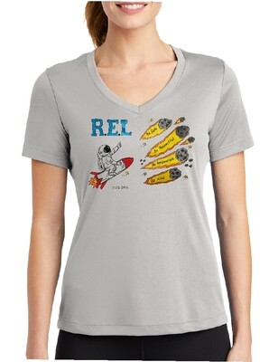 R.E.L. WASHINGTON Short Sleeve Ladies' V-NECK  Silver Grey
