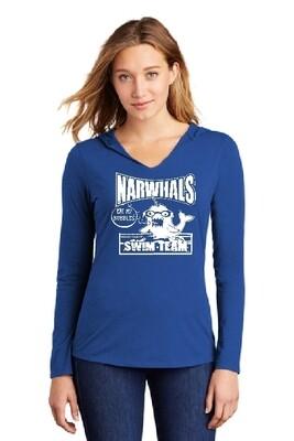 NARWHAL Super Soft Fashion Hooded Ladies' V-neck Tshirt