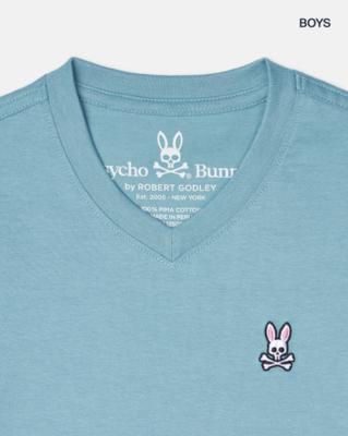 Psycho Bunny Boys Classic V-neck Tee -in Adriatic