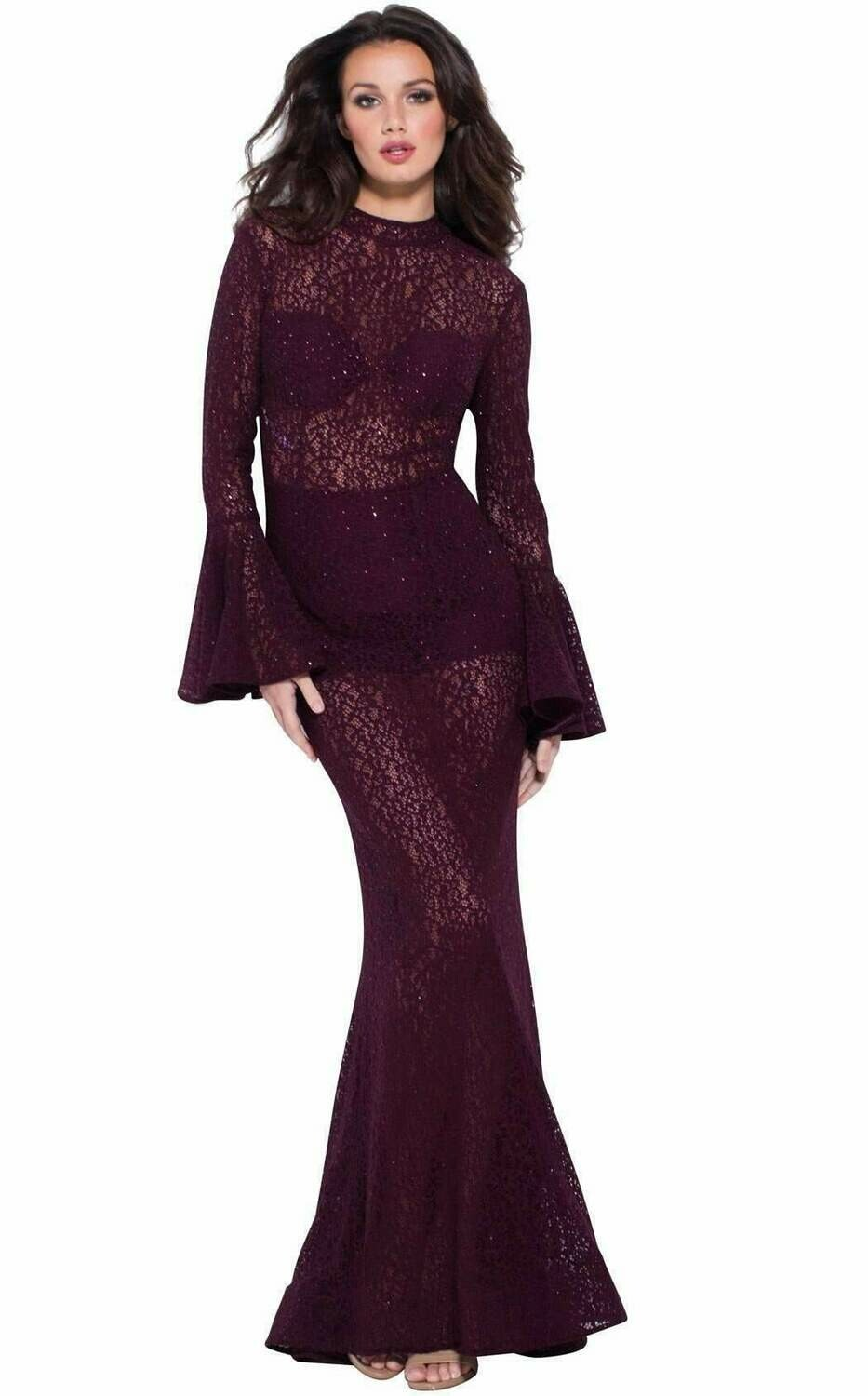 Jovani Long Bell Sleeve Lace and Sequined Gown in Plum