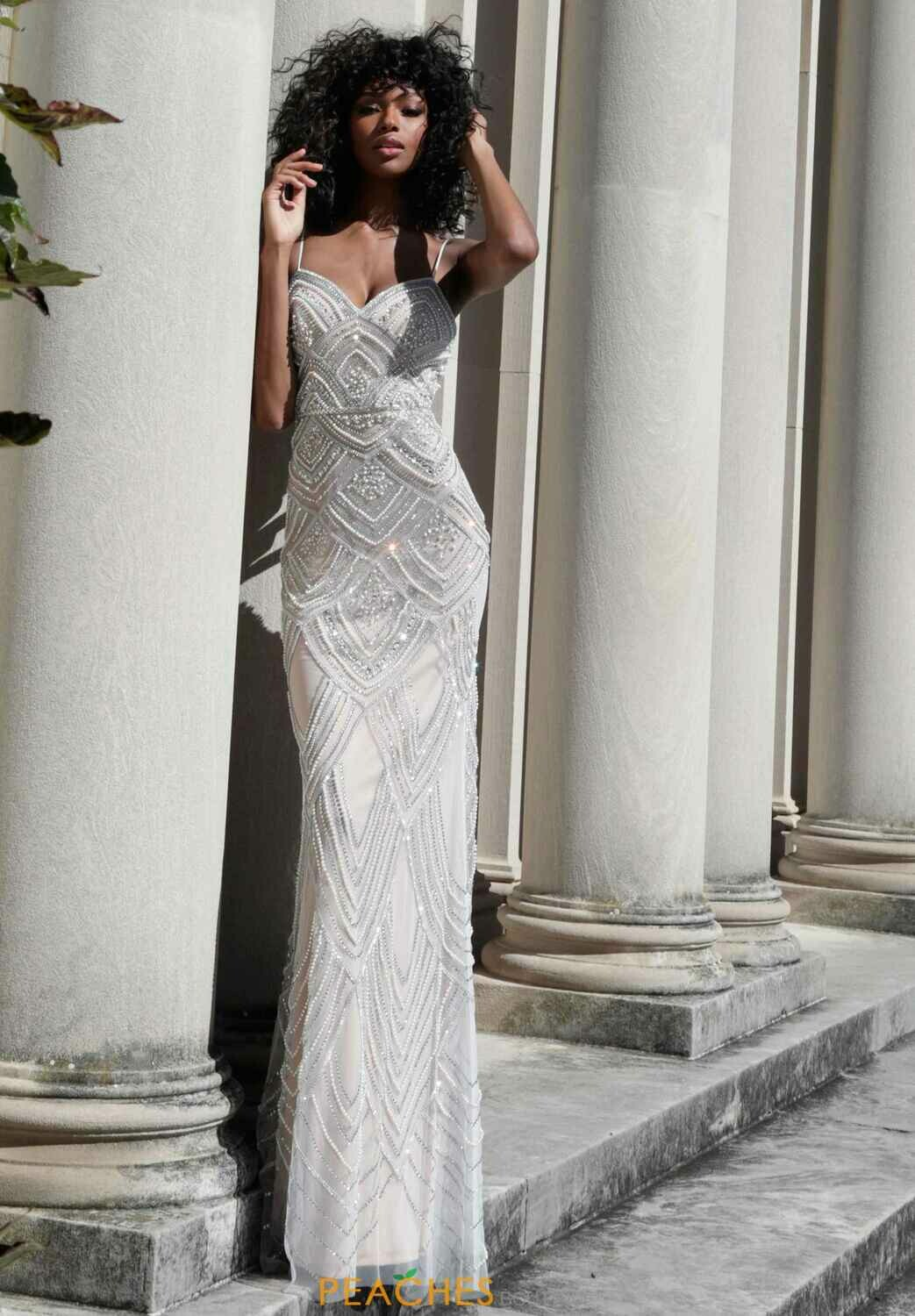 Jovani Beaded Gown With a Sweetheart Neckline in Nude