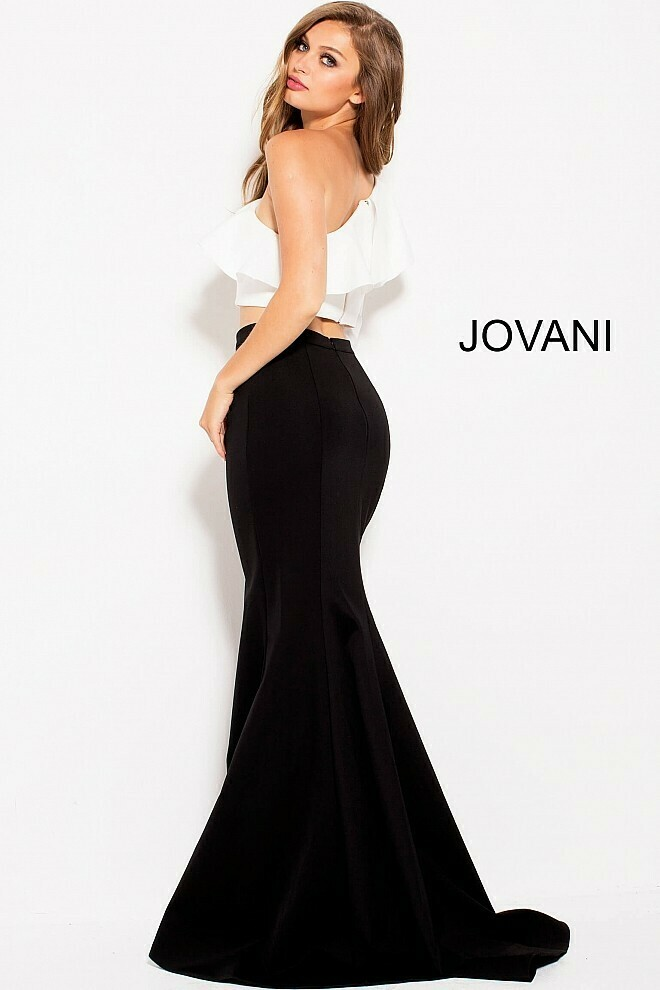 Jovani Two Piece  Asymmetrical One Shoulder Gown in Black and White