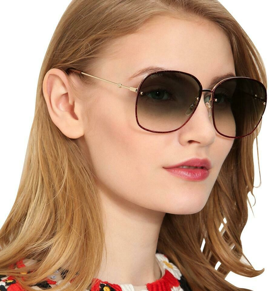 Gucci Gradient Sunglasses Metal Frame In Gold and Red