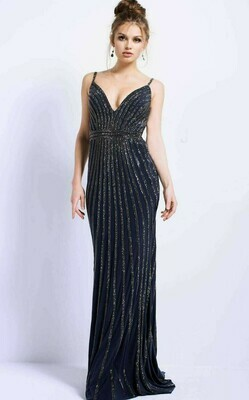 Jovani Embellished Gown in Gunmetal with Gunmetal Rhinestones