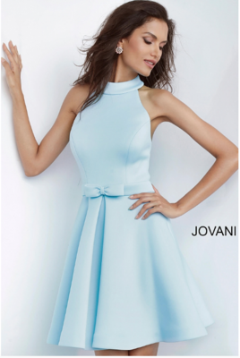 Jovani High Neck Satin Fit and Flare Cocktail Dress In Light Blue