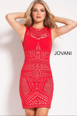Jovani Intricately Patterned Beaded Sheath Dress in Red