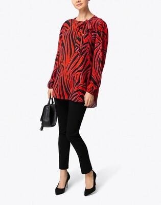 Escada  Nishida Red and Black Zebra Print Silk Blouse