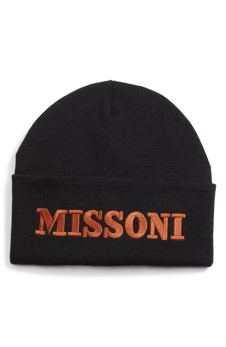 Missoni Logo Embroidered Beanie in Black
