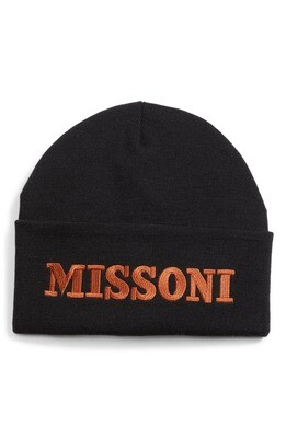 Missoni Logo Embroidered Beanie in Black