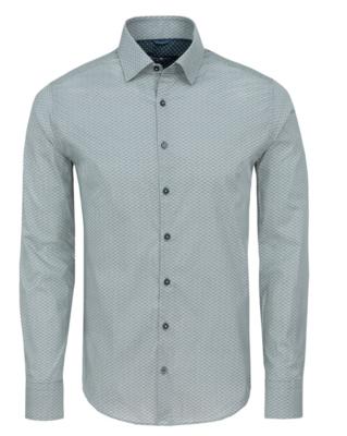 Stone Rose Navy Geometric Print Long Sleeve Shirt
