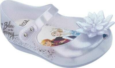 Mini Melissa Mini Ultragirl Frozen Flat,Pearl White Glitter