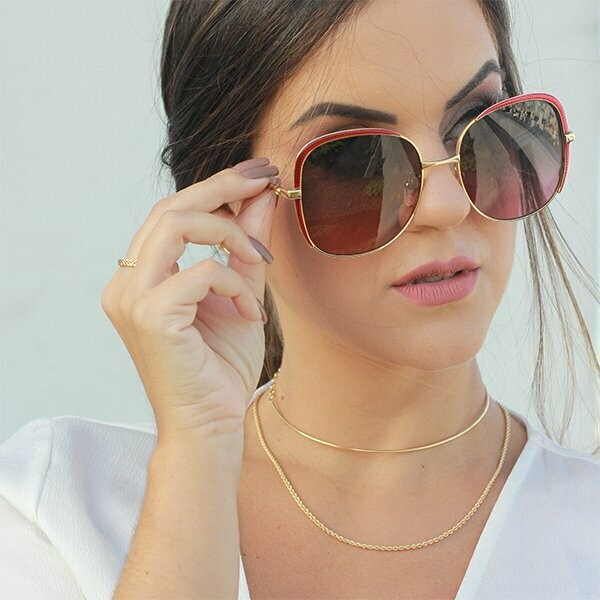 Gucci Square Metal Frame Sunglasses In Gold/Red