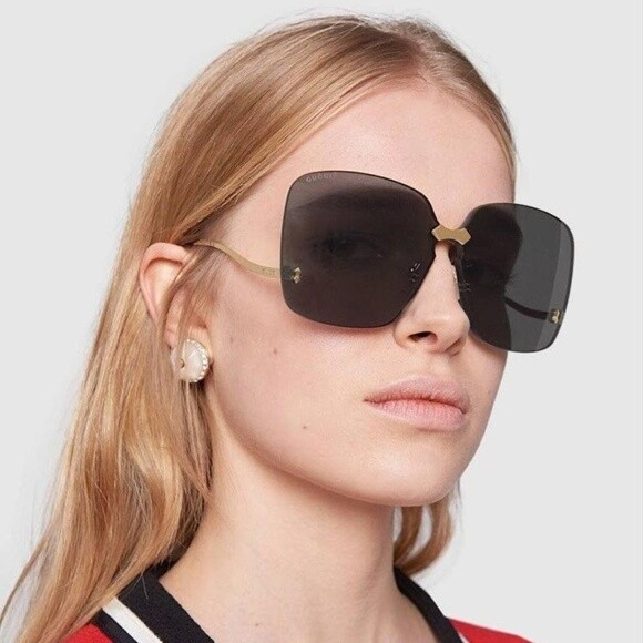 Gucci Over-sized  Rimless Sunglasses in Gold With Grey Lens