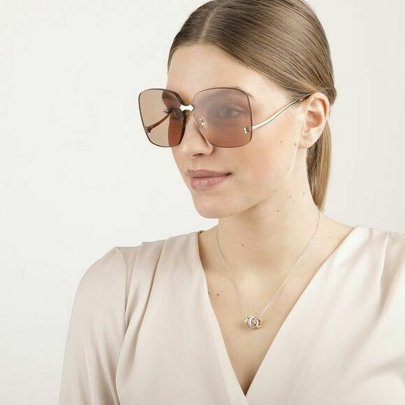 Gucci Over-sized  Rimless Sunglasses in Gold With Brown Lens