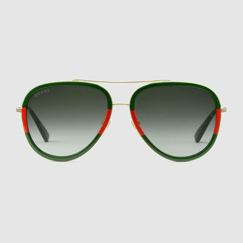 Gucci Aviator Metal Sunglasses in Red and Green With Grey Lens