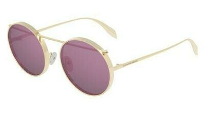 Alexander McQueen Gold Edge Metal Sunglass with Violet Lenses