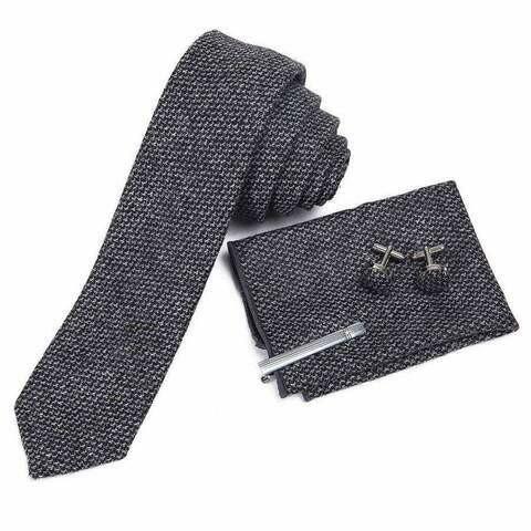 Mad Style Dark Grey Wool Men's Tie Boxed Set