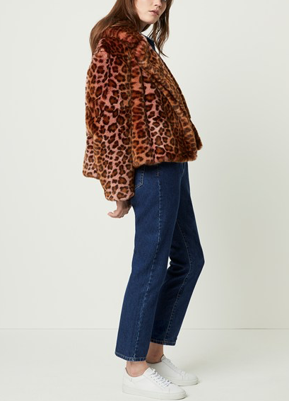 French Connection Anaia Faux Fur Ombre Leopard Jacket