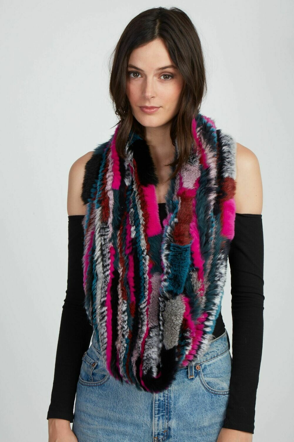 Jocelyn The Delilah Knitted Infinity Scarf - Dark Multi