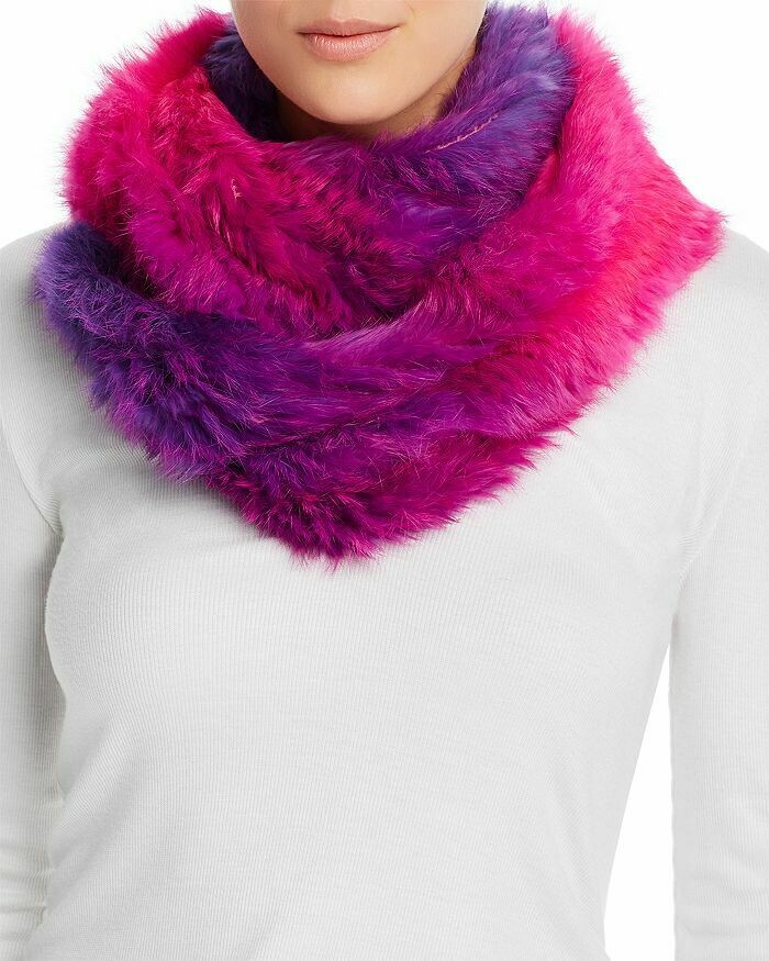 Jocelyn Ombre Rabbit Fur Infinity Scarf