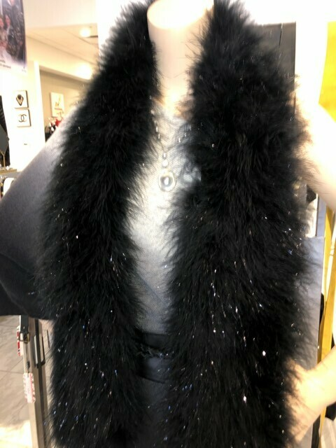 Jocelyn Black Met Rabbit Fur Scarf
