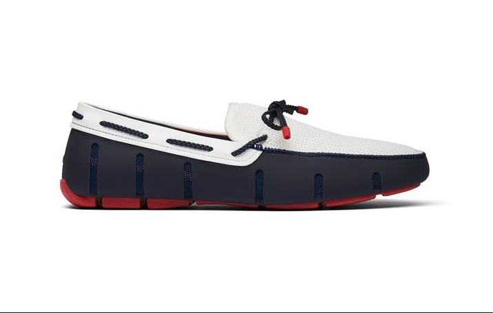 Swims Striped Venetian Loafer in Navy, White and Red