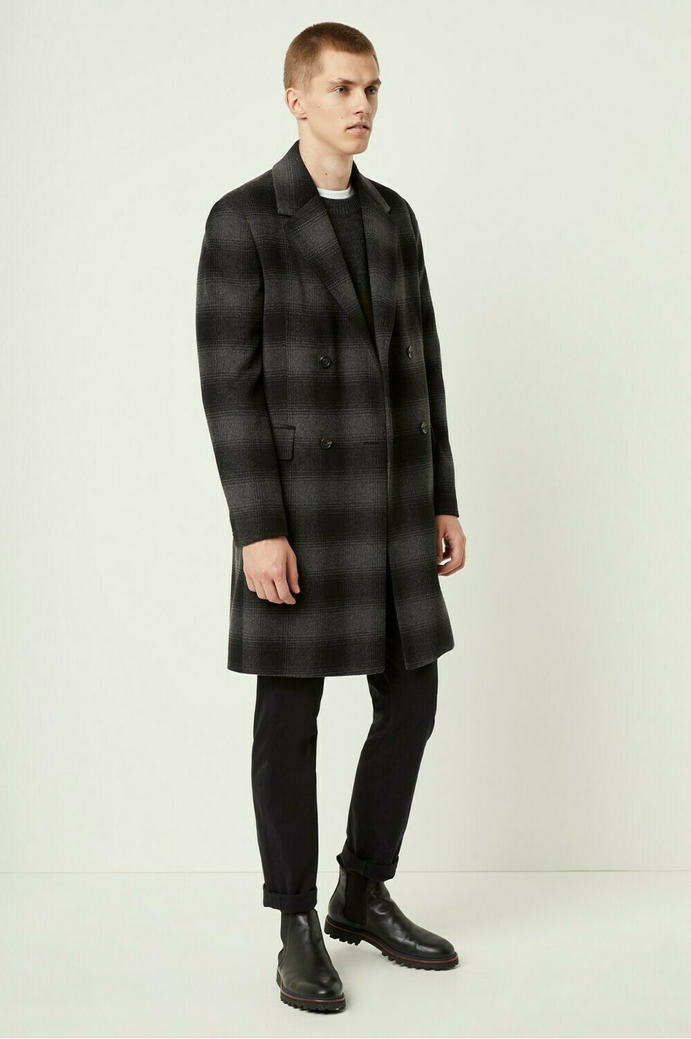 French Connection Drap Check Double Breasted Coat