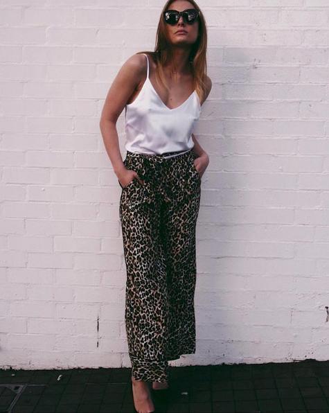 Gold Hawk Silk Print Wide Leg Pants in Leopard