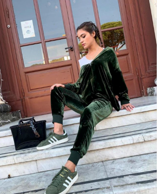 Gold Hawk Velvet Pull-On Jog Pants in Green
