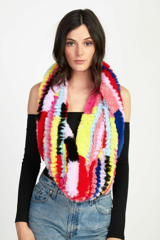 Jocelyn Grateful dead x Jocelyn Collab - Faux Fur Rainbow Scarf