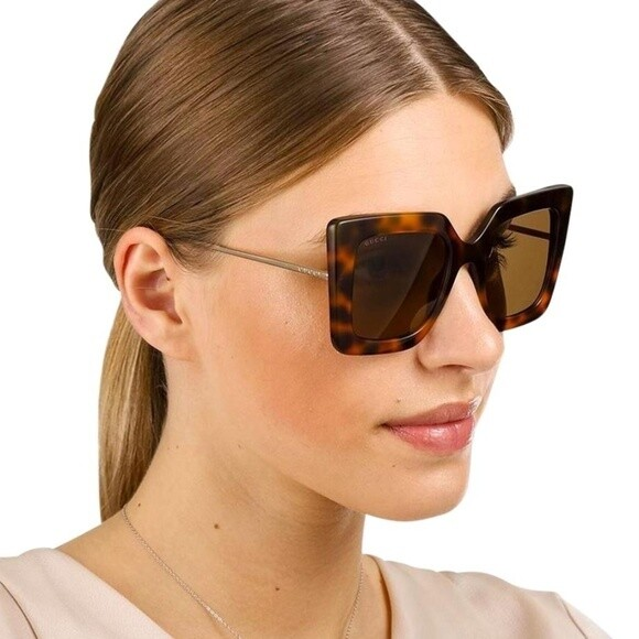 Gucci Tortoise Shell Square Frame Sunglasses With Grey Lens