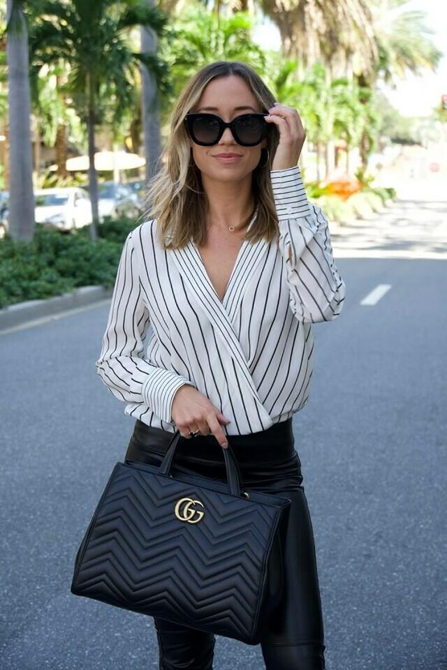 Bailey 44 Sloane Stripe Top in Black and White