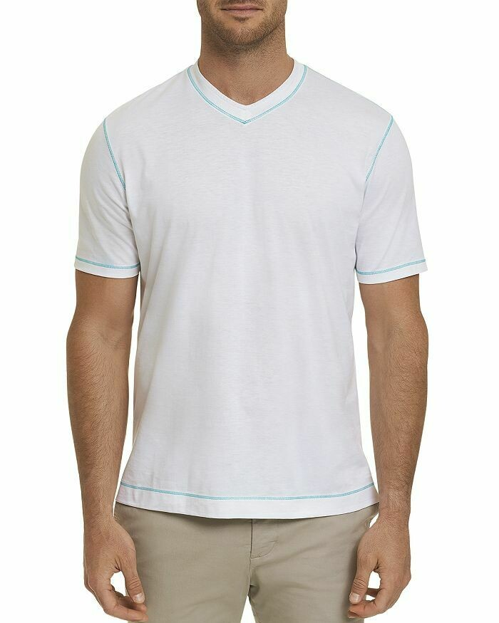 Robert Graham Maxfield V-Neck Tee in White
