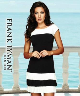 Frank Lyman Womens Ruffled Sleeveless Dress In Midnight/Off White