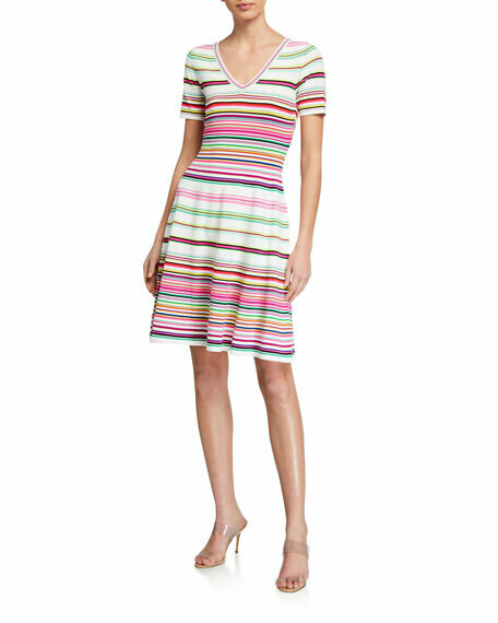 Milly Micro Stripe Fit-and-Flare Dress
