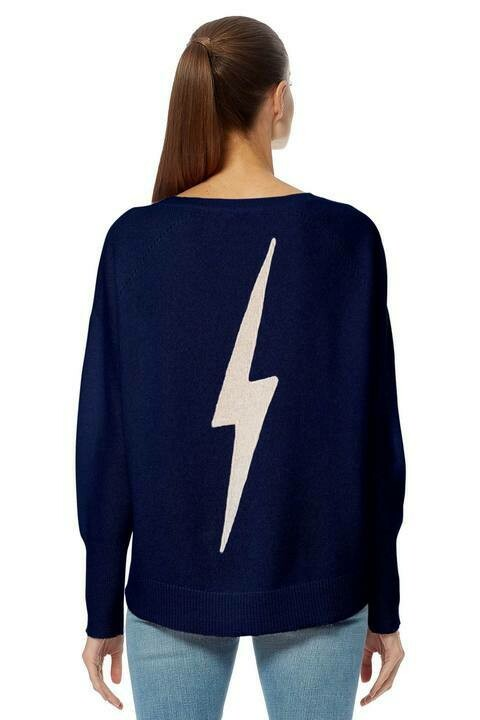 360 Sweater Lyndsey Lightning Bolt Print Sweater
