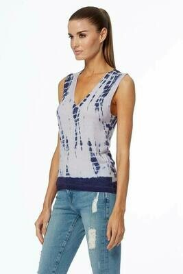 360 Cashmere Cyndi Tie Dye Tank in Blue and Light Grey